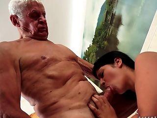 Blowjob, Brunette, Close Up, Couple, Cute, Doggystyle, Fucking, Grandpa, Hardcore, Licking,