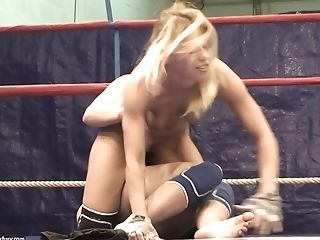 Babe, Backstage, Behind The Scenes, Blonde, Femdom, Lesbian, Nataly Von, Nikky Thorne, Undressing, Wrestling,