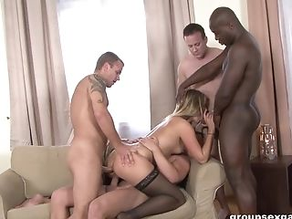 Anal Sex, Blonde, Blowjob, Bra, Couch, Cum In Mouth, Doggystyle, Double Penetration, Facial, Fucking,