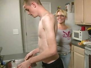 Blowjob, Bound, Cum, Cum In Mouth, Glasses, Kitchen, MILF, White,