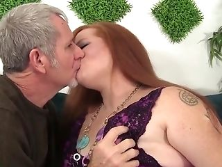 BBW, Chubby, Fat, Kissing, Redhead, Shaved Pussy,