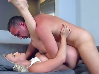Ass, Babe, Ball Licking, Big Tits, Blonde, Blowjob, Couch, Cumshot, Cute, Facial,
