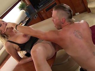 Balls, Big Tits, Blonde, Blowjob, Bra, Close Up, Couple, Cowgirl, Doggystyle, Fake Tits,