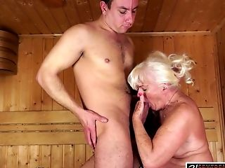 Big Tits, Blowjob, Curvy, Fat, Feet, Foot Fetish, GILF, Granny, Hardcore, Sauna,