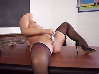 Bold, Boobless, College, Desk, High Heels, Jerking, Lingerie, Panties, Perverted, Pussy,