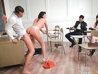Ass, Big Tits, Blowjob, Bold, Brunette, Classroom, Couple, Cowgirl, Cum, Cum In Mouth,