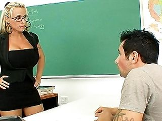 American, Big Tits, Blonde, Bobcat, Boy, Classroom, Cougar, Desk, Glasses, Hardcore,