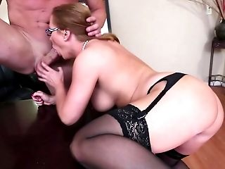 Babe, Big Cock, Blonde, Desk, Dick, Fat, From Behind, Glasses, Hardcore, Katja Kassin,